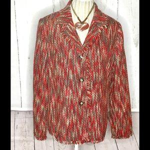 Sag Harbor Women's Tweed Multi Color Blazer Sz 14